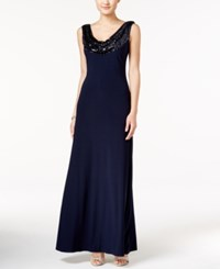 Betsy And Adam Sequined Cowl Neck Scoop Back Gown Navy