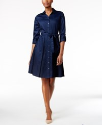 Charter Club Fit And Flare Shirt Dress Only At Macy's Intrepid Blue