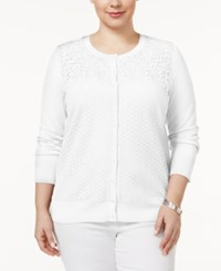 Charter Club Plus Size Mixed Lace Cardigan Only At Macy's Bright White