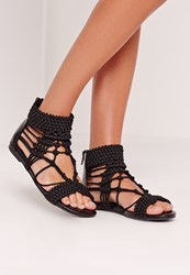 Missguided Origami Rope Flat Sandals Black Black