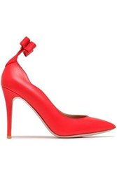 Red V Bow Embellished Leather Pumps Tomato Tomato Red