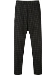 Casey Casey Checked Straight Trousers Black