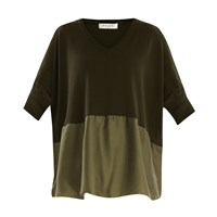 Paisie Knitted V Neck Top With Silk Panel In Green