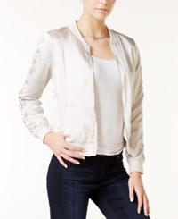 Kensie Lace Up Bomber Jacket Feather