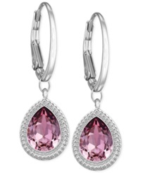 Swarovski Rhodium Plated Pink Crystal Drop Earrings