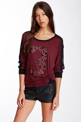 Joypeace Beaded Long Sleeve Blouse Red