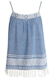Soft Joie Embroidered Cotton And Linen Blend Chambray Top Light Blue