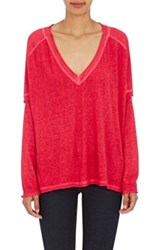 Skin Women's Layered Look Pima Cotton Linen Sweater Red