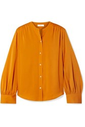Vince Stretch Silk Blouse Orange