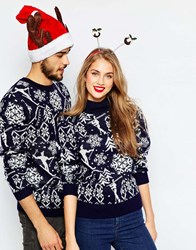 Asos Christmas Jumper In Vintage Ski Motif With High Neck Navy