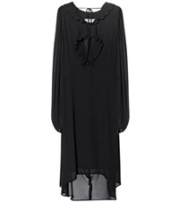Balenciaga Swing Collar Frill Dress Black