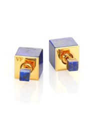 Vita Fede Double Cubo Lapis Two Sided Earrings Gold Blue
