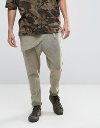 Asos Extreme Drop Crotch Acid Wash Trousers With Wrap Around Front In Light Khaki Washed Light Khaki Green