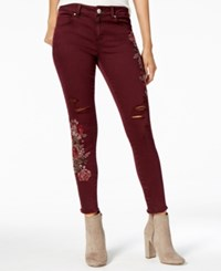 American Rag Juniors' Floral Embroidered Skinny Jeans Created For Macy's