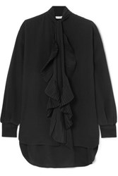 Givenchy Oversized Ruffle Trimmed Silk Crepe De Chine Blouse Black