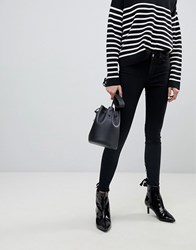 Pieces Skinny Jeans With Lace Up Back Detail Black