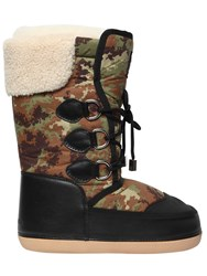 Dsquared Camouflage Nylon And Faux Leather Boots