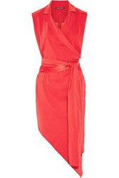 Baja East Asymmetric Wrap Effect Stretch Crepe Dress Red