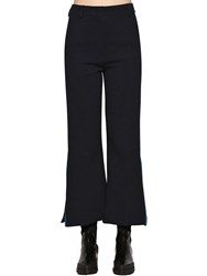 Sportmax High Waist Flared Stretch Wool Pants Navy
