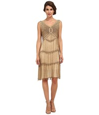 Unique Vintage Fitzgerald Beaded Flapper Dress Antique Gold Women's Dress