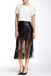 Vakko Faux Leather Fringe Skirt Black