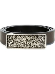 Eleventy Engraved Plaque Belt Brown