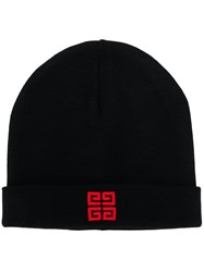 Givenchy Logo Embroidered Beanie Hat Black