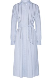 Gabriela Hearst Chelsea Embroidered Pinstriped Cotton Dress Blue