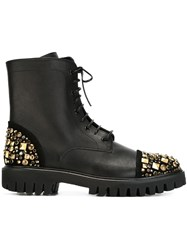 Alberto Guardiani Studded Military Boots Black