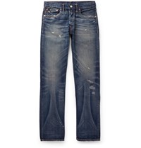 Rrl Distressed Selvedge Denim Jeans Blue