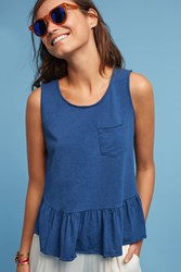 Anthropologie Peplum Pocket Tank Navy