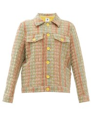 M Missoni Boxy Upcycled Checked Jacquard Jacket Khaki Multi