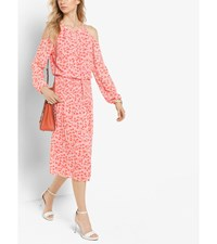 Floral Print Peekaboo Tie Neck Dress Mandarin