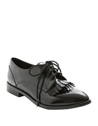 Kensie Peyton Faux Patent Leather Fringed Oxfords Black