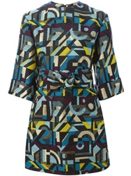 Olympia Le Tan Abstract Woven Mini Dress Multicolour