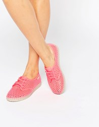 Zaxy Lace Up Espadrille Coral Pink