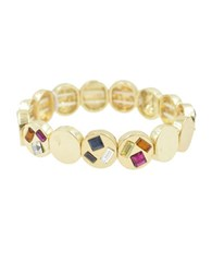 Kensie Circle Component Stretch Bracelet Gold