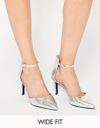 New Look Wide Fit Perform Silver Two Part Heeled Shoes