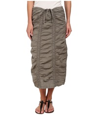 Xcvi Stretch Poplin Double Shirred Panel Skirt Moonbeam Women's Skirt Taupe
