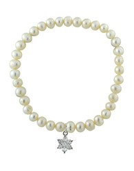 Lord And Taylor 6Mm Freshwater Pearl Sterling Silver Flower Charm Stretch Bracelet