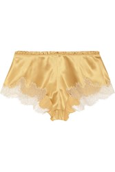 Carine Gilson Metallic Embroidered Lace Trimmed Stretch Silk Satin Shorts Gold