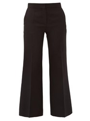 Valentino Crepe Couture Wool Blend Kick Flare Trousers Black