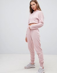Boohoo Tapered Leg Jogger Two Piece In Pink Pink