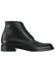 Saint Laurent Lace Up Leather Derby Boots Black