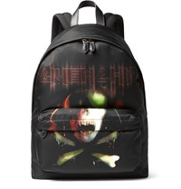 Givenchy Leather Trimmed Printed Shell Backpack Black