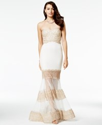 Say Yes To The Prom Juniors' Embellished Illusion Trumpet Gown A Macy's Exclusive Gold Ivory