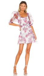 For Love And Lemons X Revolve Volume Sleeve Fit Flare Dress In White. Pink And Blue Floral