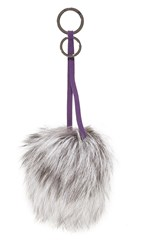 Mischa Lampert Pom Bag Charm Silver Fox Black Gunmetal