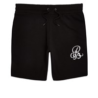 River Island Black Embroidered Slim Fit Shorts