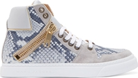 Marc Jacobs Grey And Gold Python High Top Sneakers
